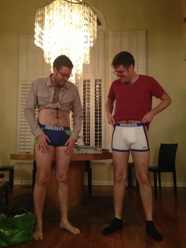 New designer underwear, a gift from their Dad!
