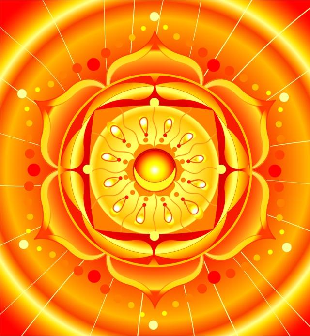 bright orange mandala of svadhisthana chakra vector